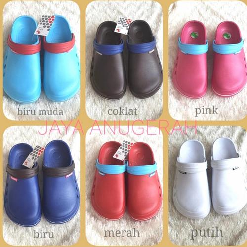Foto Produk Sandal sepatu wanita model Crocs merk Komin halus,kuat,tidak licin - Biru Muda, 36 dari JAYA ANUGERAH STORE