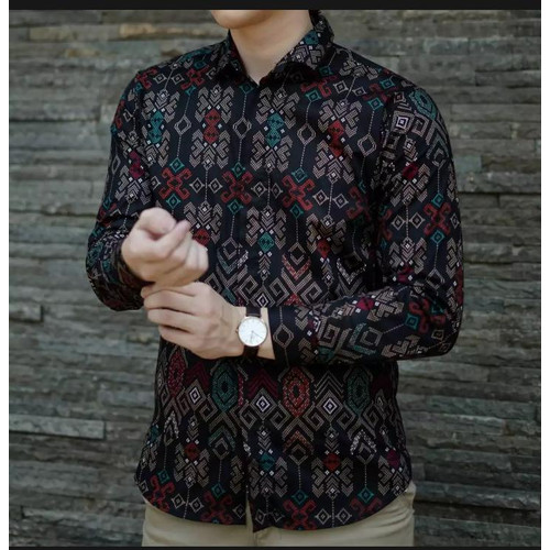 Foto Produk Kemeja Flanel Pria Lengan Panjang Hitam Abu / Baju Casual Cowo Cowok dari Simpleclothes.id