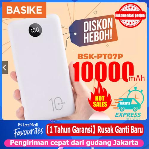 Foto Produk BASIKE Power Bank 20000 mAh 10000 mAh Powerbank Dual USB Murah Mini - PT07P 10000mAh dari Basike Official Store