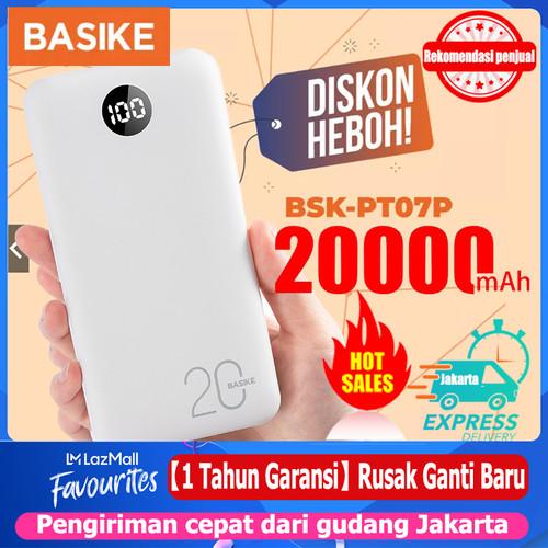 Foto Produk BASIKE Power Bank 20000mAh Dual USB Fast Murah Mini for Iphone Android - PT10-2 outputs dari Basike Official Store