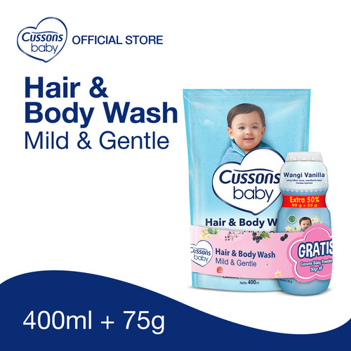 Foto Produk Cussons Baby Hair & Body Wash Mild & Gentle Pouch 400ml dari Cussons Official Store