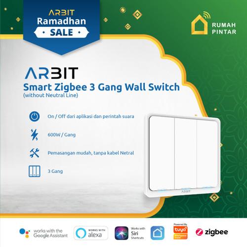 Foto Produk ARBIT Smart Home ZigBee Wall Switch 3 Gang Without Neutral line TUYA dari ARBIT Official Store