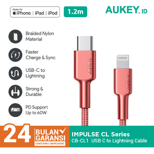 Foto Produk Aukey Braided Nylon MFi USB-C to Lightning Cable 1,2m - 500384 dari Aukey Surabaya