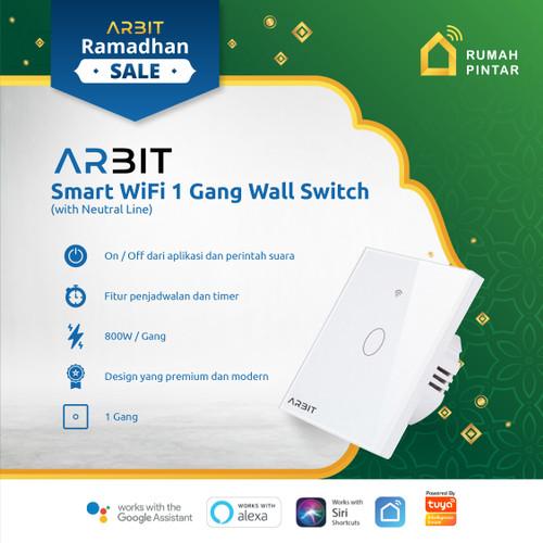 Foto Produk ARBIT Wifi Smart Wall Switch / Saklar works with Alexa Google 1 Gang dari ARBIT Official Store