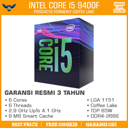Foto Produk Processor Intel Core i5 9400F 2.9Ghz Up To 4.1Ghz LGA 1151 dari YOUNGS COMPUTER
