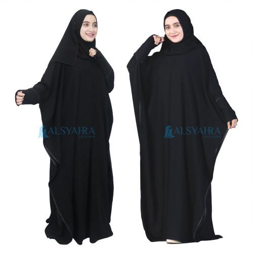 Foto Produk Abaya Syari Farasha Zipper Jetblack Alsyahra Exclusive dari Toko Alsyahra