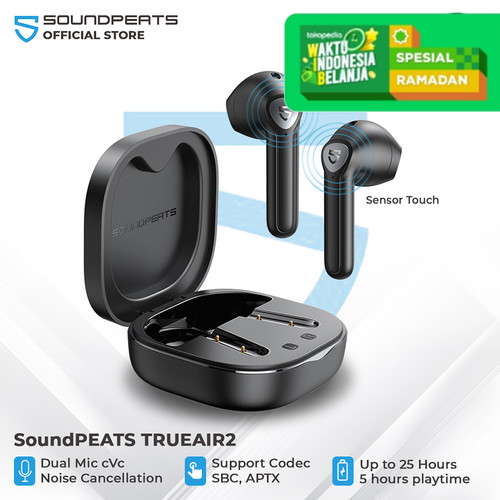 Foto Produk SoundPEATS True Air2 True Wireless Earbuds In-Ear Stereo - Hitam dari SOUNDPEATS OFFICIAL