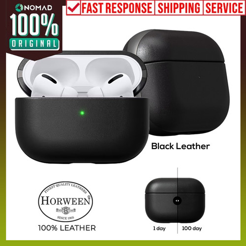 Foto Produk Case Apple Airpods Pro NOMAD Leather Rugged Premium Pouch Casing - Black Leather dari Nomad Official