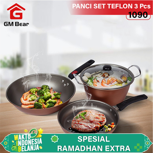 Foto Produk GM Bear Wajan Set Panci Penggorengan Teflon 1 Set 3 Pcs 1090 dari GM Bear