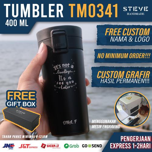 Foto Produk Botol minum stainless termos vacuum tumbler travel mug TM0341 Black dari Steve Handmade