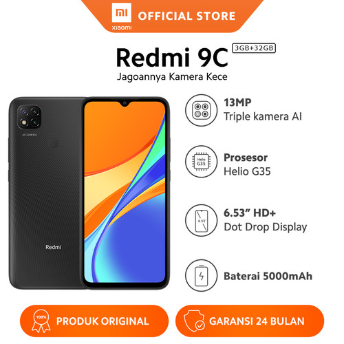 "Foto Produk Xiaomi Official Redmi 9C 3/32GB 6.53"" HD Mi Smartphone AI Face Unlock - Grey dari Xiaomi Official Store"