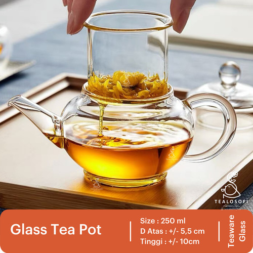 Foto Produk Glass Teapot 250 ml - Teko Kaca Teh - Tealosofi Tea dari Sarangopi_Roastery