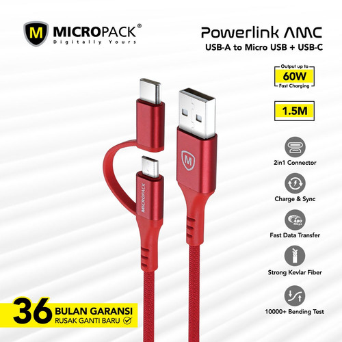 Foto Produk MICROPACK CABLE 2 IN 1 USB A TO MICRO & TYPE C 1.2M (MC-AC13) - Merah dari Micropack Official Store