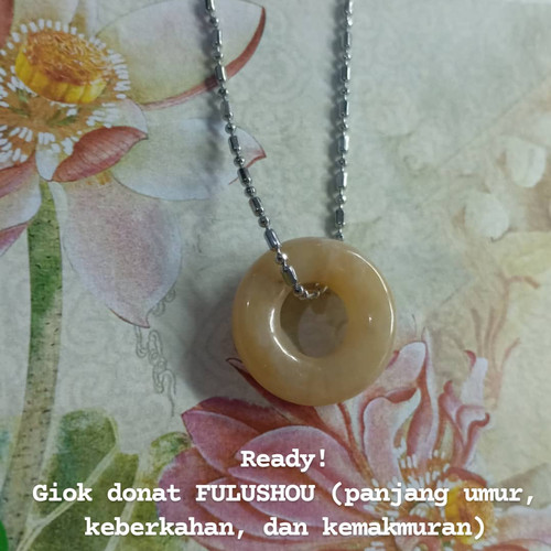 Foto Produk Kalung Giok Langka Donat Jadeite Asli FULUSHOU Simbol Keberuntungan - kalung dan giok dari IndChiKnotting