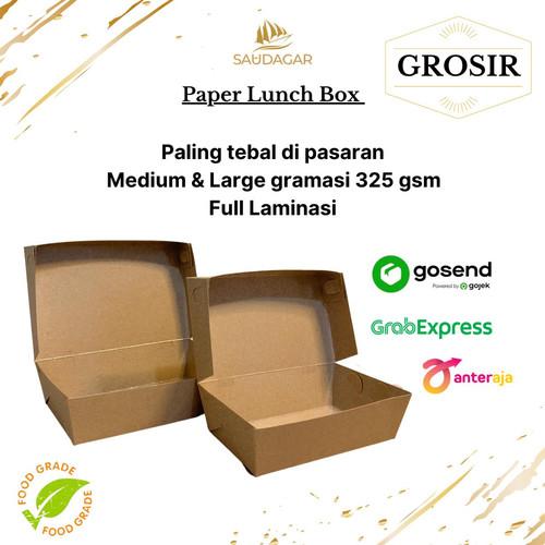 Foto Produk PAPER LUNCH BOX BAHAN KRAFT/ CRAFT FULL LAMINASI SIZE M & L - LUNCHBOX MEDIUM dari saudagarplastik