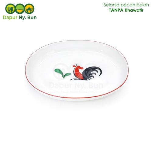 Foto Produk PIRING Oval Ayam Jago Seri 2 / Piring Saji OVAL dari Dapur Ny.Bun