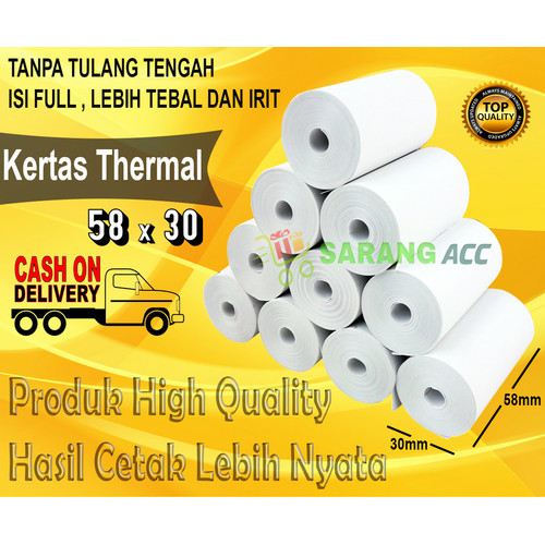 Foto Produk KERTAS STRUCK PRINTER THERMAL 58 x 30mm PAKET ISI 10 ROLL - 58x30mm 10 roll dari SARANG ACC shop