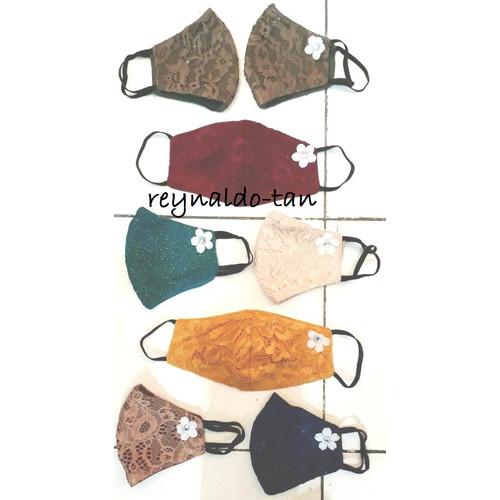 Foto Produk 12 Pcs Masker Monyong Bunga Bahan Blukat Kualitas Oke Earloop dari reynaldo-tan