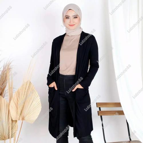 Foto Produk Long Cardigan Outerwear Cardi Wanita Bahan Spandek - Hitam, XL dari JktFazhion