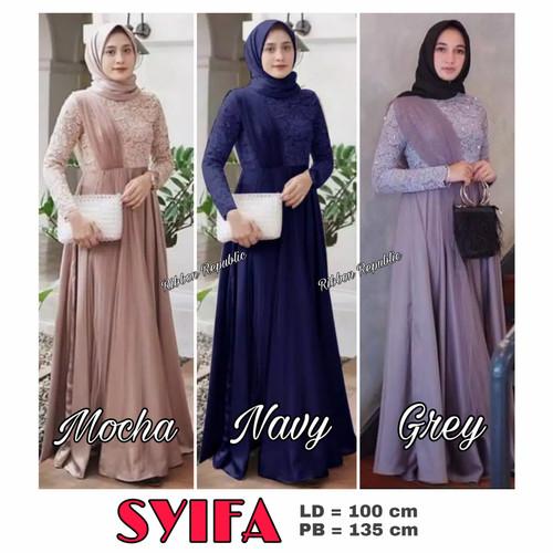 Foto Produk Baju Muslim Dress Gamis Abaya Brukat Lace Wanita Lebaran Pesta Seragam - Navy / Biru Tua, SYIFA dari Ribbon Republic