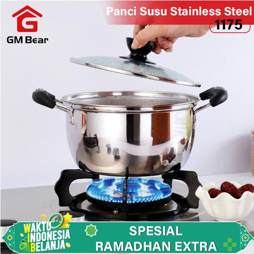 Foto Produk GM Bear Panci Sop Stainless Steel 1175-Stainless Steel Soup Pot 18cm dari GM Bear