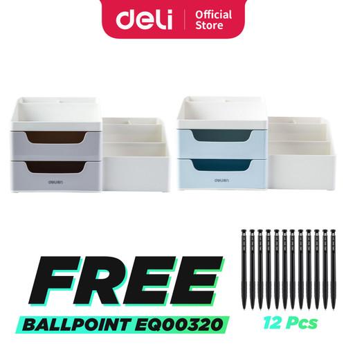 Foto Produk Deli Desk Organizer Business Style Laci Kotak Penyimpanan Barang 8900 - Abu-abu dari Deli Stationery