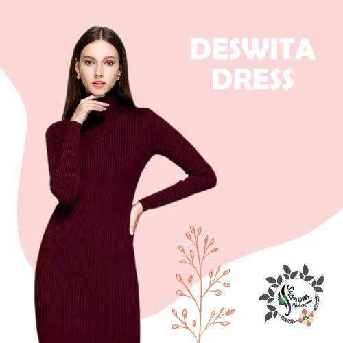Foto Produk Deswita Casual Dress | Gaun Rajut Turtleneck Lengan Panjang BodyCon dari shanum hijabstore