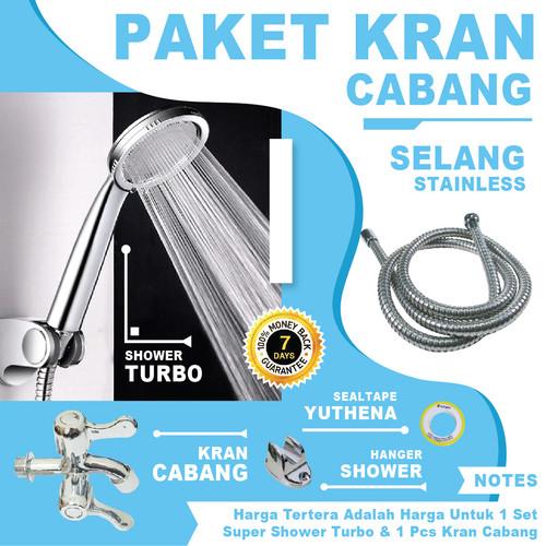 Foto Produk Bundle Kran Cabang dan Shower Mandi TURBO JET Hand Shower dari YuThena Official Store