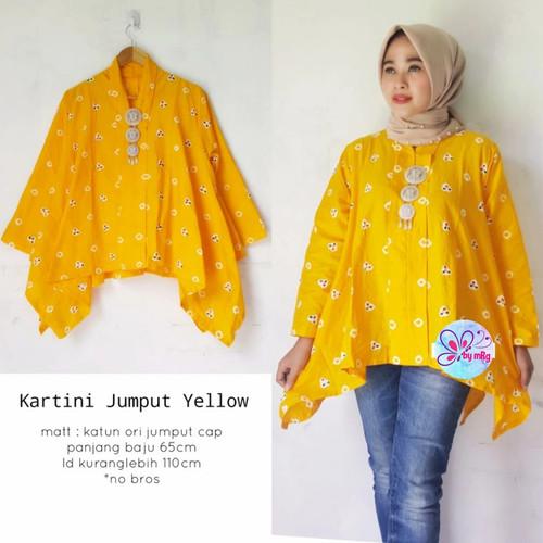 Foto Produk blouse kartini jumputan yellow premium dari Jivan Batik
