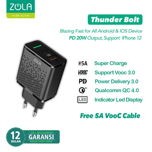 Foto Produk Zola Thunder Bolt Charger Fast Charging VOOC 3.0 ,PD,QC3.0,SuperCharge dari Zola Indonesia