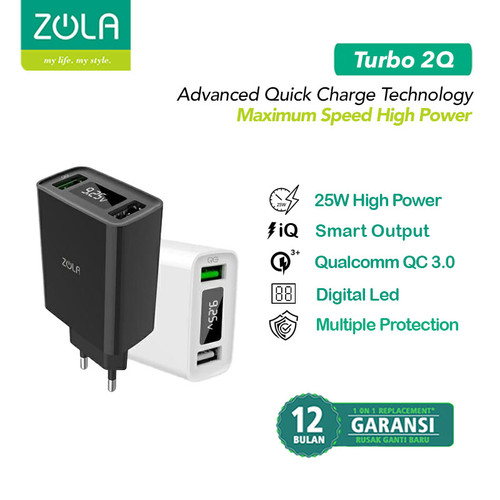 Foto Produk ZOLA Turbo 2Q Gen2 Smart Led Quick Charge 3.0 Dual Output USB Charger - Putih dari Zola Indonesia