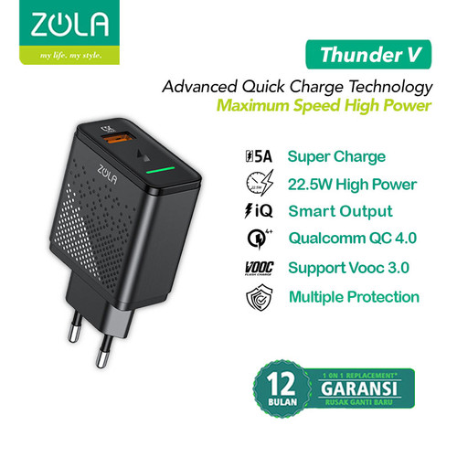 Foto Produk Zola Thunder V Charger VOOC 3.0, QC4.0, FlashCharge, SuperCharge 22,5W dari Zola Indonesia