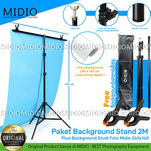 Foto Produk Paket Background Stand 2M + Background Studi Foto Midio 240x140 dari Midio