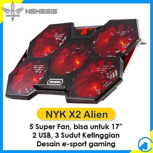 """Foto Produk NYK X-2 X2 Alien Gaming Notebook Cooler Pad 5 Super Fan 17"""" 2 USB Port dari Artica Computer"""