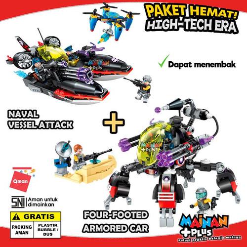 Foto Produk PAKET MAINAN BRICK LEGO QMAN PERAHU KENDARAAN TEMPUR HI TECH ERA SNI dari MainanPlus