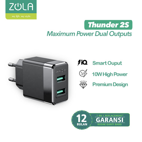 Foto Produk Zola Charger Thunder 2S Dual Ports Usb Output 10W, Fast Charging 2.1A dari Zola Indonesia