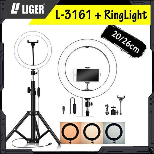 Foto Produk Tripod Liger L-3161 Plus Ring Light hotography Lighting - 20cm dari LIGER OFFICIAL STORE