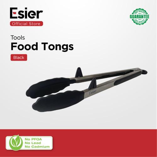 Foto Produk Esier Silicon Food Tongs - Penjepit / Capit Makanan Silikon Stainless - Hitam dari Esier Official Store