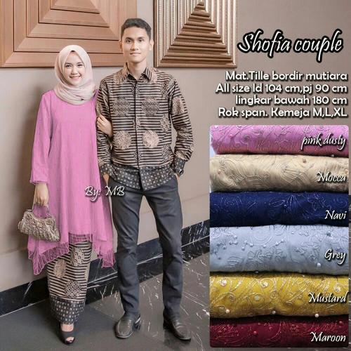 Foto Produk baju batik sarimbit pasangan gamis brokat - couple dusty pi dari batik iqlab