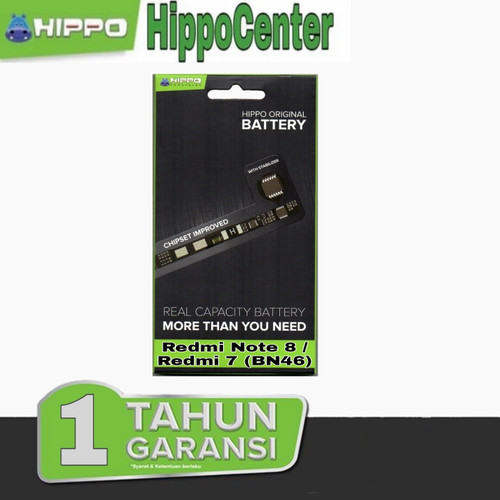Foto Produk Baterai Hippo Xiaomi Redmi Note 8 / Xiaomi Redmi 7 Hippo baterai BN46 - BATERAI dari HippoCenter