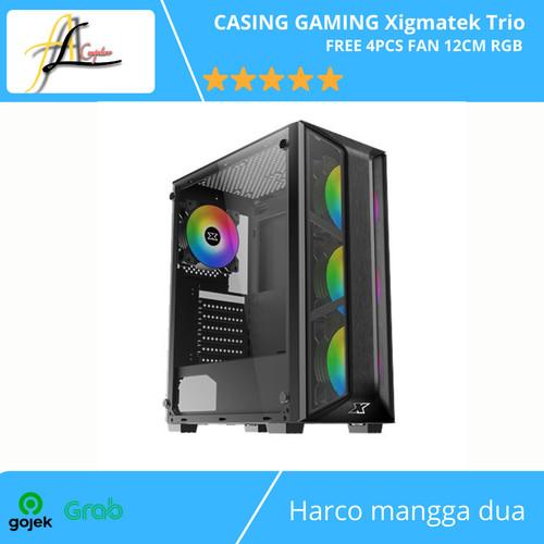 Foto Produk CASING GAMING Xigmatek Trio - FREE 4PCS FAN 12CM RGB dari AL computerr