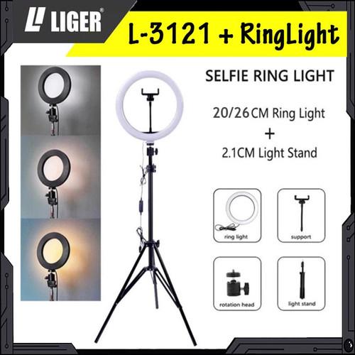 Foto Produk Tripod Liger L-3121 (210cm) Plus Ring Light Photography Lighting - 20 cm dari LIGER OFFICIAL STORE