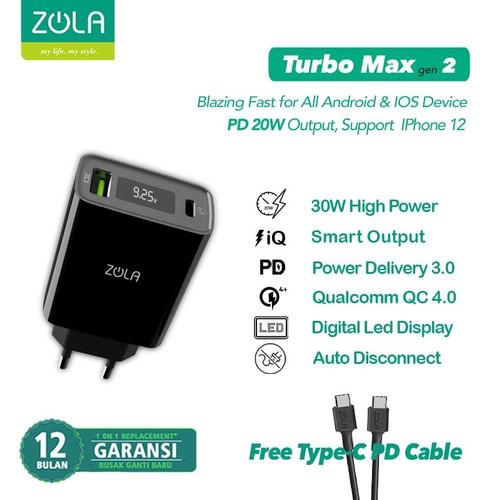 Foto Produk Zola Charger Turbo Max Gen2 QC 3.0 & PD For Ipad pro & Macbook Max 30W - Hitam dari Zola Indonesia