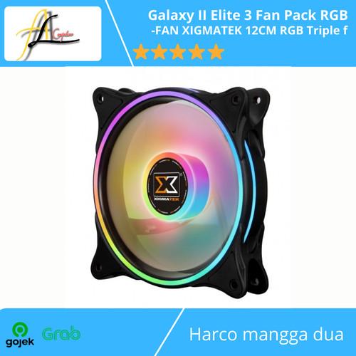 Foto Produk Galaxy II Elite 3 Fan Pack RGB -FAN XIGMATEK 12CM RGB Triple fan dari AL computerr