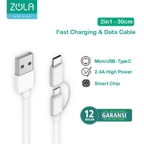 Foto Produk Zola Fast Charging 2 In 1 Cable Data Sync Micro USB & USB Type-C 30CM dari Zola Indonesia
