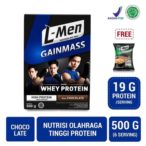Foto Produk L-Men Gain Mass Chocolate 500gr FREE L-Men Protein Crunch dari NutriMart
