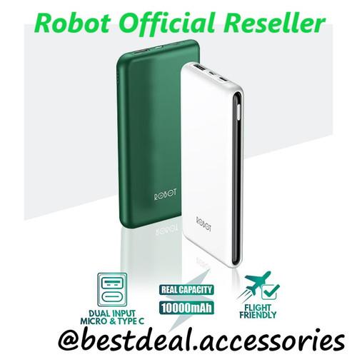 Foto Produk Robot RT180 10000mAh Powerbank Dual Input Port Micro USB & Type C - Putih dari bestdeal official