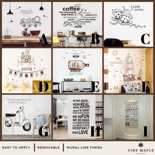 Foto Produk VineMaple Kitchen, Living Room & Quote - Stiker Dinding / Wall Sticker - A - 60x90cm dari Vine Maple Home Decor