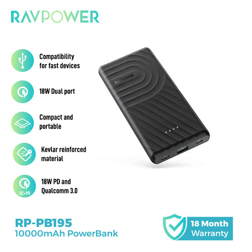 Foto Produk RAVPower Portable Power Bank 10000 mAh PD18W+QC3.0 Black [RP-PB195] dari RAVPower Official Store