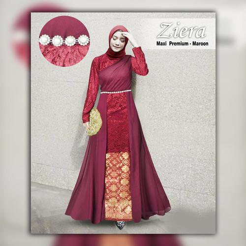 Foto Produk Baju Gamis Atasan Brukat Full Furing Kombi Ceruty Babydoll - Maroon dari ITC Cempaka Mas Official